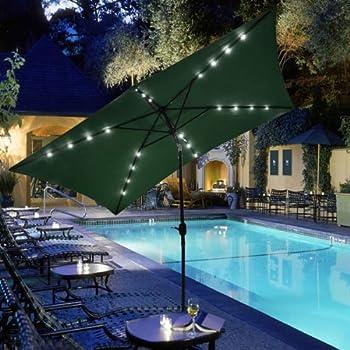GC Global Direct Rectangular Outdoor Umbrella with Solar LED Lights 10 X 6.5 (Green)
