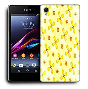 Snoogg Yellow Flower Printed Protective Phone Back Case Cover For Sony Xperia Z4