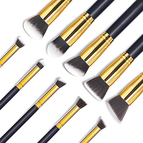 Details for [ Arrival] EmaxDesign 10+1 Piece Makeup Brush Set,10 Pieces Professional Foundation Blending Blush Eye Face Liquid Powder Cream Cosmetics Brushes + 1 Piece EmaxBeauty Blender Makeup Sponges from EmaxDesign