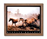 Wild Mustang Horse Roundup Western Cowboy Home Decor Wall Picture Oak Framed Art Print