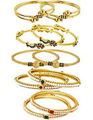 Jewels Galaxy Combo Of Designer Pearls Bangles, Mayur Bangles And Trendy Gold Plated Bangles - Pack Of 10