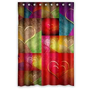 New Custom Many Hearts In Bright Colors Shower Curtain 48 X 72 With 9 Holes To
