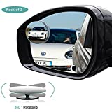 Blind Spot Mirror, HD Glass Convex Rear View Mirror with 360° Rotatable + 30° Sway, Adjustable Wide Angle Rear View for All Cars, Pack of 2