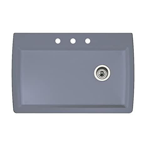 Blanco 440193-3 Diamond 3-Hole Single-Basin Drop-In Granite Kitchen Sink, Metallic Grey
