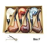 Smoking Pipe, Set of 6pcs, Smoking Pipe Gift Box, Smoking Pipe of Steel & Acrylic, Tobacco Pipe (Box F) (Tamaño: Box F)