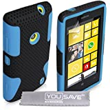 Yousave Accessories Tough Mesh Combo Silicone Cover Case for Nokia Lumia 520 - Black/Blue