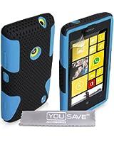 Coque Nokia Lumia 520 Etui Bleu / Noir Robuste Dur Silicone Gel Méche Double Combo Housse