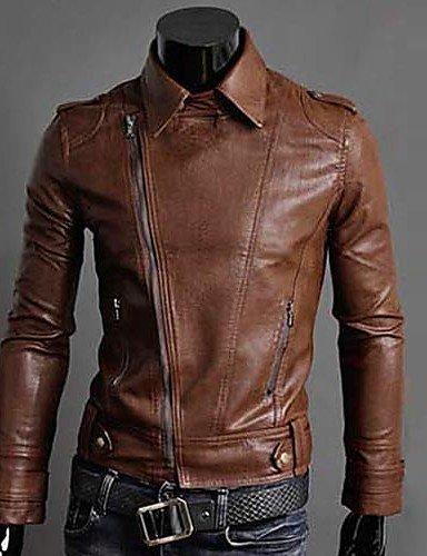 SU Giacca In Pelle Della Corea Style Slim Uomo, Marrone, L