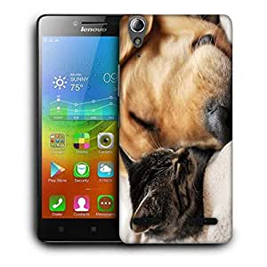 Snoogg Dog And Cat Sleeping Printed Protective Phone Back Case Cover For Lenovo A6000