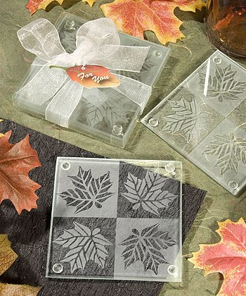 Fall / Autumn Theme Glass Coaster Wedding Favors, 36