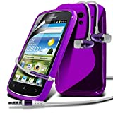 Huawei Ascend G300 Purple S Line Wave Gel Case Skin Cover With LCD Screen Protector Guard, Polishing Cloth & Hands Free Earphone with Built in Microphone Mic & On-Off Button by Fone-Case