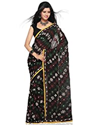 Utsav Fashion Women's Black Faux Georgette Saree with Blouse - B00KV6JIGA
