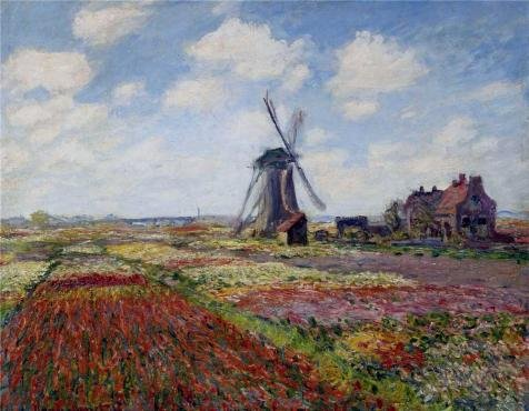 The High Quality Polyster Canvas Of Oil Painting 'Tulip Fields With The Rijnsburg Windmill, 1886 By Claude Monet' ,size: 20x26 Inch / 51x65 Cm ,this Reproductions Art Decorative Canvas Prints Is Fit For Laundry Room Decoration And Home Decoration And Gifts