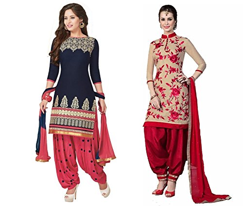 Sky Global Women\'s Printed Unstitched Regular Wear Salwar Suit Dress Material (Combo pack of 2)(SKY_DC_5182)(Dress_223_FreeSize_Blue)(SKY_552_Red & Cream)