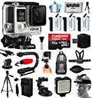GoPro HERO4 Hero 4 Black Edition 4K Action Camera Camcorder with Professional Accessory Bundle includes 16GB MicroSD + 3x Extra Batteries + Home & Car Charger + Card Reader + Backpack Bag + Chest Harness + Action Stabilizer Hand Handle + Full Size Tripod + Car Suction Cup Mount + LED Video Light + Head Helmet Strap + Dust Cleaning Kit (CHDHX-401)