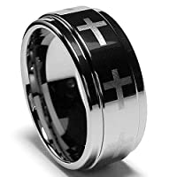 9MM Flat Top Tungsten Ring with Laser Etched Eternity Cross Design Sizes 6 to 15