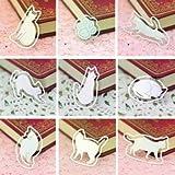 【9枚セット】 幸運な白い猫(ホワイトキャット) ステンレス金属製ブックマーク しおり