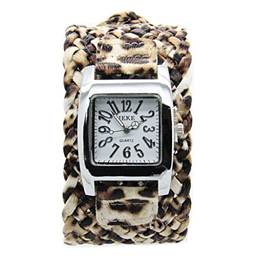 E-Future Leopard Print Weave Leather Womens Square Quartz Bracelet Dress Watch Brown