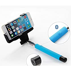 Spider Designs SD-10 Wireless Bluetooth Premium Selfie Stick For Android , iOS & Windows Blue