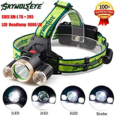 Sky Wolf Eye Headlamp ,Oksale Waterproof 9000 LM 3X XML T6+2R5 LED Bicycle Head Light ,Rehargeable 18650 Headlight Torch for Camping Hunting Running,Black