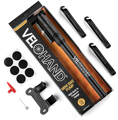 VeloHand Portable Mini Bike Pump. Quickly & Easily Fix Your Bicycle Tires At Home Or On The Road. With FREE Tire Levers, Glueless Patches, Built-In Gauge, 120PSI Capacity, Flexible Hose & Frame Mount. (Trek Bicycle Tires compare prices)