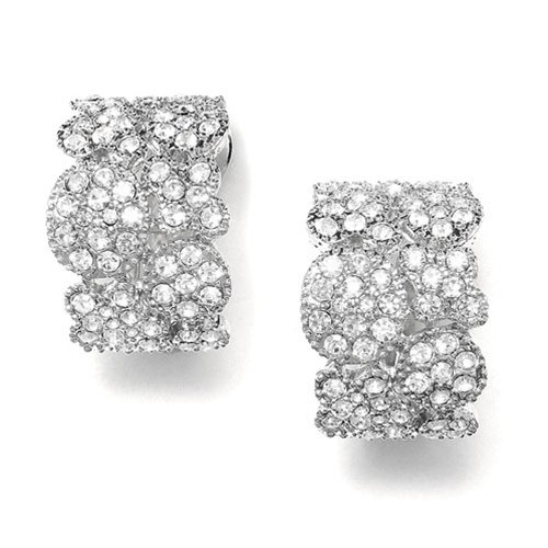 Cubic Zirconia Pave Clip Bridal Wedding Earrings
