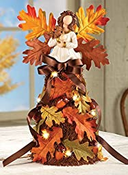 LED Lighted Table Top Angel Maples Leaves Colorful Wings Decor Harvest Fall Autumn Harvest Thanksgiving Home Accent Decoration by knl store