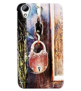 Blue Throat Old Lock Hard Plastic Printed Back Cover/Case For HTC Desire 626