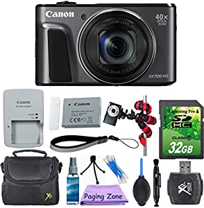 Canon PowerShot SX720 HS (Black) with 32GB Memory Card + Gorillapod Flexible Tripod + Rubber Air Blower Pump Dust Cleaner + Lens Cleaner + Point and Shoot Camera Case + Cleaning Kit