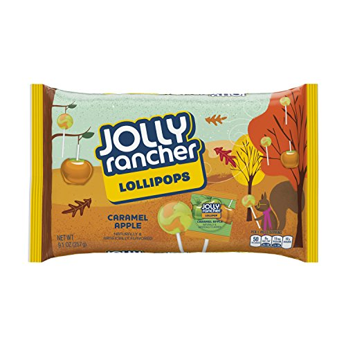 JOLLY RANCHER Halloween Caramel Apple Flavored Lollipops (9.1-Ounce Bag, Pack of 16)