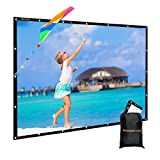 GBTIGER 100 inch Indoor Outdoor Movie Screen PVC Fabric with Bag, Collapsible Wall/Ceiling Mount Projection Screen, 100 inch Portable 16:9 Indoor Outdoor Home Theater Presentation Projector Screen