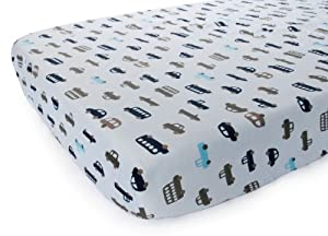 Carter's Printed Fitted Sheet, Blue Cars