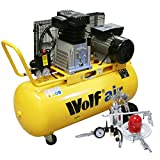 Wolf Dakota 90 Litre, 3HP, 14CFM, 240v, MWP 150psi, 10BAR Twin Cylinder Pump Belt Driven Air Compressor + 13 Piece Air Tool Kit Including Pro Syphon Feed Spray Gun, Tyre Inflator, Long Nozzle Sprayer, Blow Gun, 8 Piece Inflator Set & 5m Air Hose