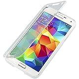 Mobile24 Matte TPU Funda con Tapa para Samsung Galaxy S5 G900, Cover, Carcasa - Transparente