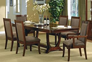 7pc Montego Brown Cherry Finish Solid Wood Dining Table Cha