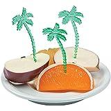 Fun Express Luau Plastic Palm Tree Picks (Pack of 72), Green