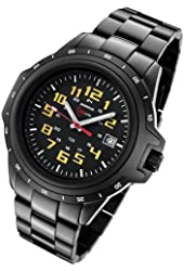 Armourlite ColorBurst Shatterproof Scratch Resistant Glass Yellow Tritium Watch 10 yr battery w/ Black Stainless Steel Band AL219