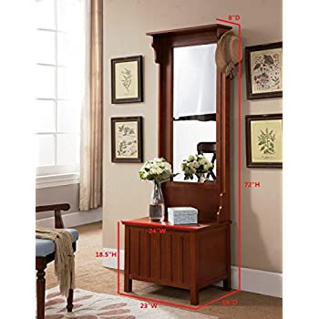 Kings Brand Furniture Entryway Hall Tree with Mirror Coat Hooks & Storage Bench, Walnut