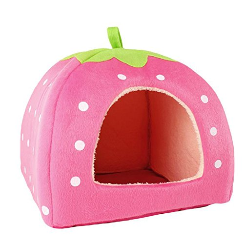 Generic Soft Strawberry Pet Cushion Basket Pink S front-208380