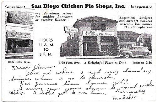 Postcard San Diego Chicken Pie Shop on Fifth Avenue in San Diego, CA~98606 (Chicken In A Ca compare prices)