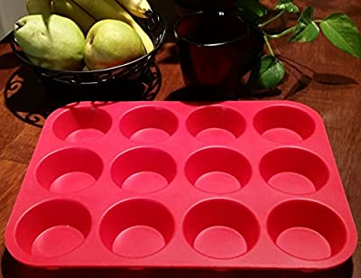 BakeMaster 12 Cup Silicone Pan for Baking Muffins and Cup Cakes - Non Stick - Dishwasher and Microwave Safe