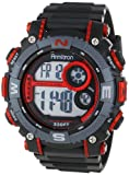 Armitron Sport Mens 40/8284RED Large Metallic Red Accented Black Resin Strap Chronograph Digital Watch