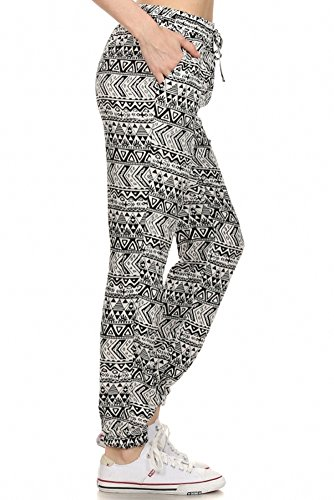 Sassy Apparel Women's Stylish Aztec Print Fashion Jogger Pants with Drawstring (Large, White)