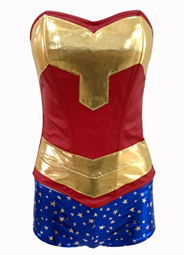 BSLINGERIE® Sexy Wonder Woman Overbust Corset with Shorts Costume