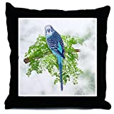 CafePress Blue Budgie on Green Throw Pillow - Standard Multi-color