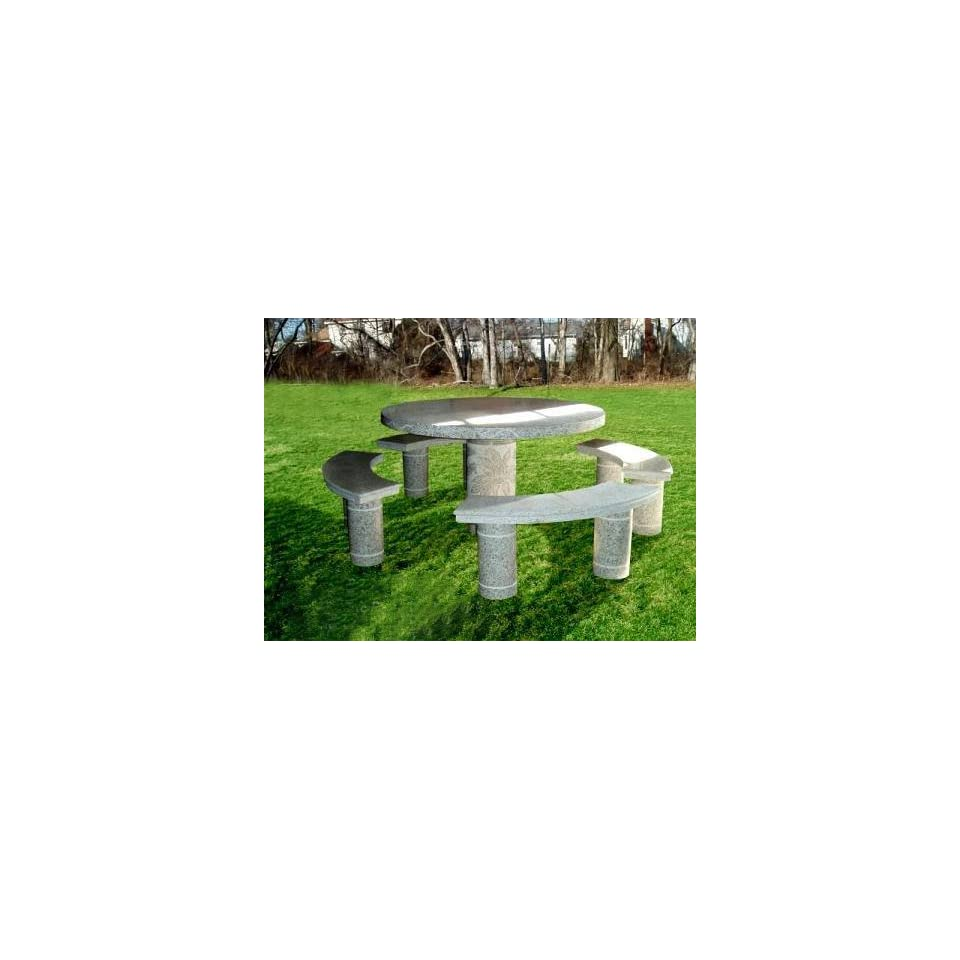 National Tree Company FQT 800 48 48 Inch Granite Round Table with Carved Pedestal and 4 Benches