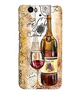 Omnam Vintage Wine Printed With Glass Designer Back Cover Case For Google Nexus 6P