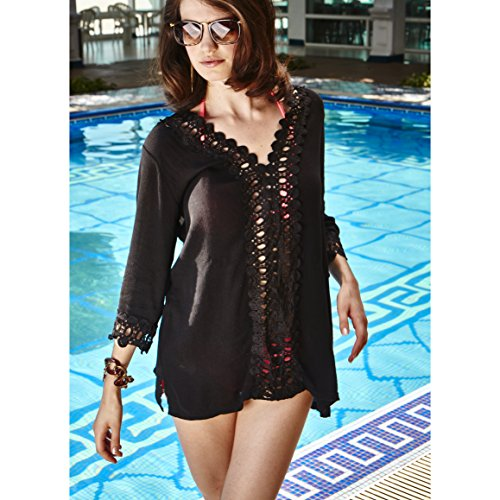 364c95442 MG Collection Black Long Sleeve Beach Dress / Crochet Design Swimsuit Cover  Up