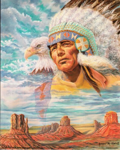 Indian Chief & Eagle Native American Art Poster (16x20)