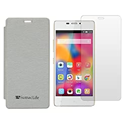 SumacLife PU Leather Flip Cover Case for Gionee M2 (White) + Clear Screen